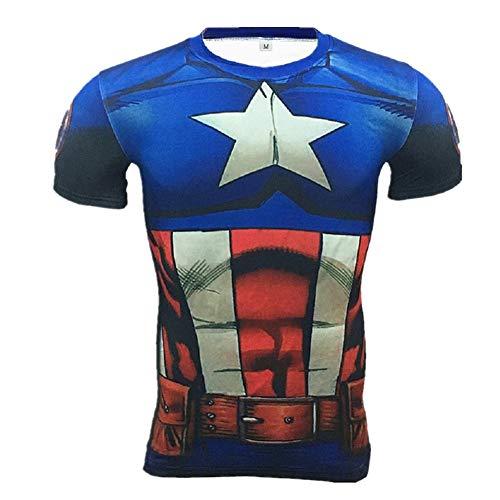 (Cosfunmax Superhero Captain Team Leader Compression Shirt Sports Gym Ruining Base Layer)