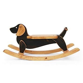Handgefertigt aus Holz Ride On Rocking Dog Braun Dackel Animal Design Rocker