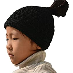 Tinacrochetstudio Crochet Messy Bun Hats Ponytail Beanie ( Teen and Adult, Black)