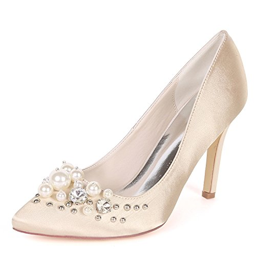 Flower EU42 Strass Mariage 01F Closed 0608 D'orsay Femmes UK9 Chaussures Toe Ager Nuptiale Satin Champagne 6rZ8Eqx6z