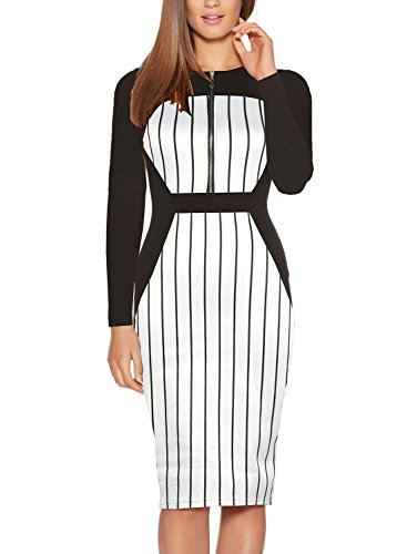 Fantaist Full Sleeve Striped Business Office Midi Day Dress for Women Casual (XXL, ()