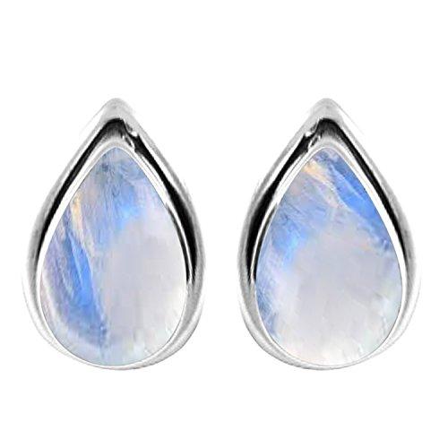 3.10ctw, 6x9mm Pear Genuine Gemstones & 925 Silver Plated Stud Earrings