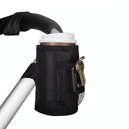 Stroller Drink Holder - Insulated Stroller Cup Holder, Waterproof Attachable Stroller Bottle Holder, Personal Belonging Stroller Organizer Includes 2 Mesh Pockets, Thermal Soft Buggy Drink Holder, Fits Most Strollers