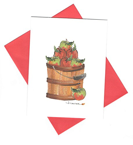 Timree Blank Note Cards and Envelopes ~ Autumn Memories (Barrel of Apples; 6 Cards; 4.25