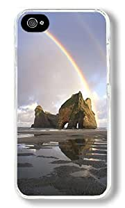 Double Rainbows Over A Rock Formation Custom iPhone 4S Case Back Cover, Snap-on Shell Case Polycarbonate PC Plastic Hard Case Transparent