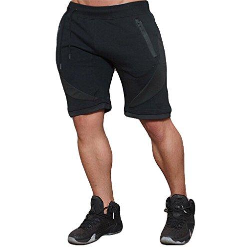 USGreatgorgeous Men's Casual Elastic Waist Harem Training Jogger Sport Short Baggy Pants (XL, Black)