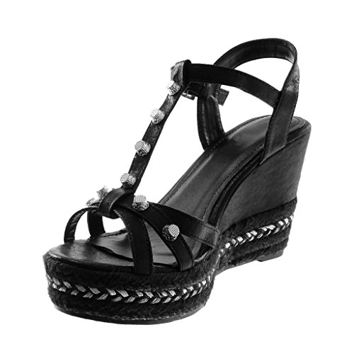 Cuerda Plataforma Mules Correa de Angkorly Negro Correa Moda Sandalias Zapatillas Mujer Plataforma 5 cm Brillantes Tachonado 9 Tobillo Oqxqtw71B4