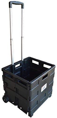 Am-Tech pliant coffre panier 25 kg Shopping Trolley-Replier roue Crate S5650