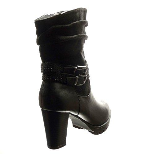Angkorly - Zapatillas de Moda Botines flexible botas militares mujer Hebilla strass metálico Talón Tacón ancho alto 8 CM - Negro