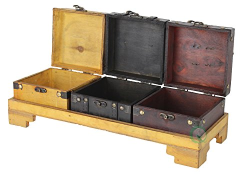 Vintiquewise(TM) Colored Wooden Treasure Chests/Decorative Box on Tray, Set of 3