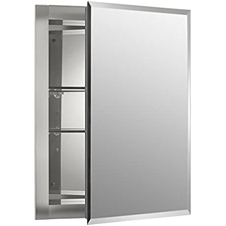 16 X 20 Aluminum Mirrored Medicine Cabinet Mirrored Doors And Back Cabinet Wall With Swing Door And Two Adjustable Shelves