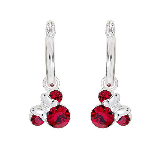 (Disney Minnie Mouse Birthstone Jewelry for Women, Minnie Mouse Crystal Hoop Earrings (More Colors Available) Mickey's 90th Birthday Anniversary)