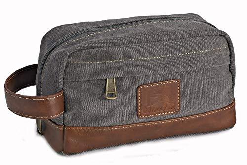 Toiletry Bag Travel Canvas Mens Leather Makeup Bag Organizer Cosmetic Bag Mens Shaving Bag Dopp Kits Gray