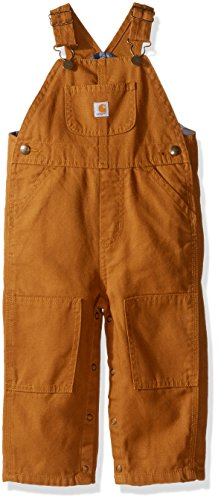Carhartt Baby Boys' Canvas Overall Flannel Lined, Brown, 6 Months