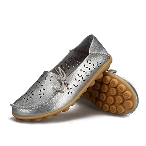 Slip H Women Flats silver Shoes On YIRUIYA Leather Casual Loafers tTnqwa