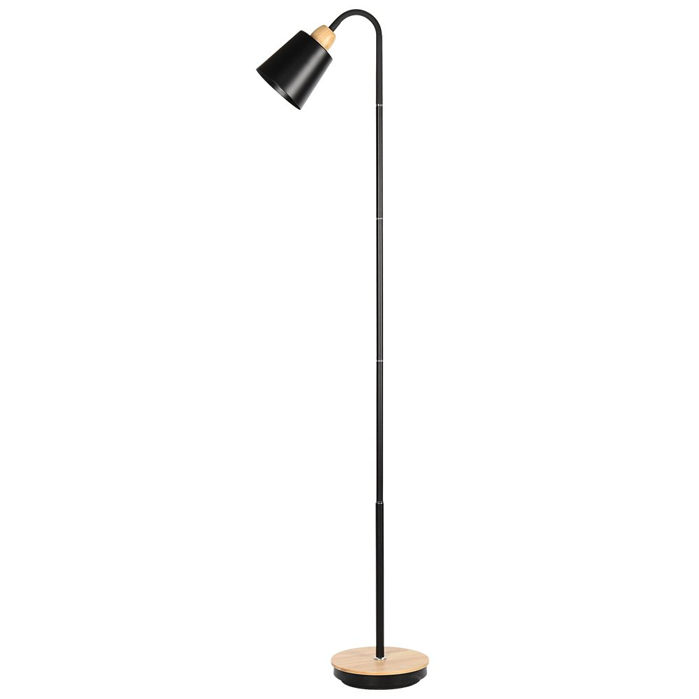 HAITRAL 360°Adjustable Lamp Holder Floor Lamp Rubber Wood Timber Base, Modern Style Light for in Bedroom, Living Room, Family Rooms, Offices (HT-TH05-02S)