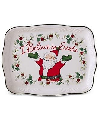 Pfaltzgraff Winterberry I Believe in Santa Cookie Plate