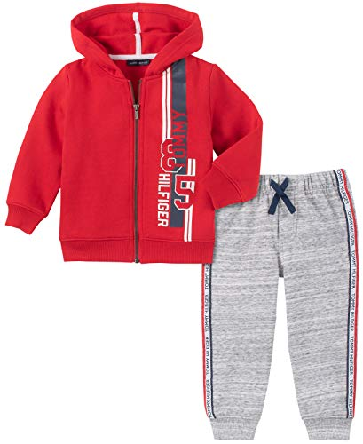 Tommy Hilfiger Baby Boys 2 Pieces Hooded Jog Set, Red/Gray, 3-6 Months