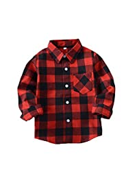 Yober Kids Boys' Girls' Long Sleeve Button Down Plaid Shirt