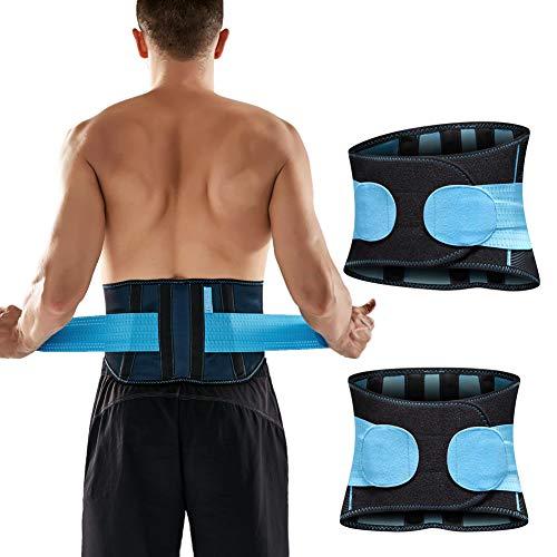 T TIMTAKBO Lower Back Brace Lumbar Support for Lower Back Pain Relief,Women Men Adjustable Flexible Waist Trainer Belt,Sport Girdle for Gym,Lifting,Workout(Black/Blue, L/XL)