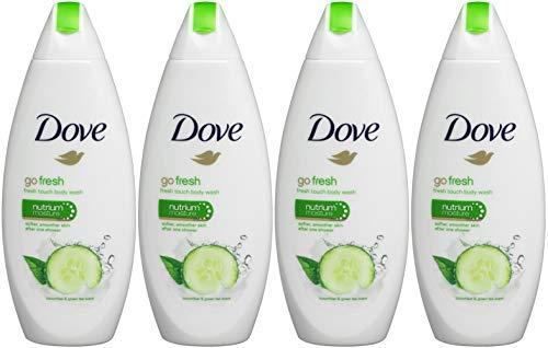 Dove Go Fresh Cool Moisture Fresh Touch Body Wash, Cucumber and Green Tea, 16.9 Oz / 500 Ml (Pack of 4) International Version