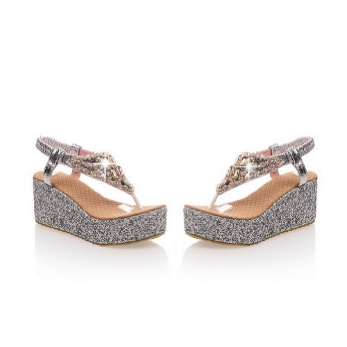 Womans Kitten Toe M Thong Sandals Heels WeenFashion Material B Diamond Glass Solid Silver US Open PU Soft with 8 Wedge ptIdtw