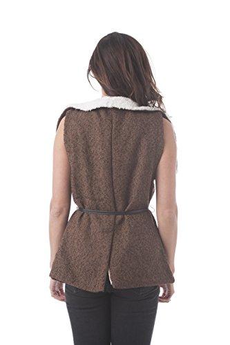 Chaleco de tweed, con forro de piel sintética y cuello envolvente marrón