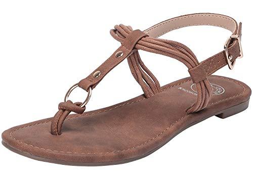 CAMEL CROWN Women's Flat Sandals T-Strap Low Heel Summer Thong Slingback Sandals Comfortable Walking Shoes (8.5 US, Brown-607) ()