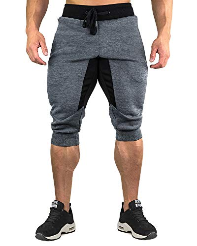 CRYSULLY Men Classic-Fit Mutli Pockets Short Pants with Adjustable Drawstring Dark - Apparel Mutli