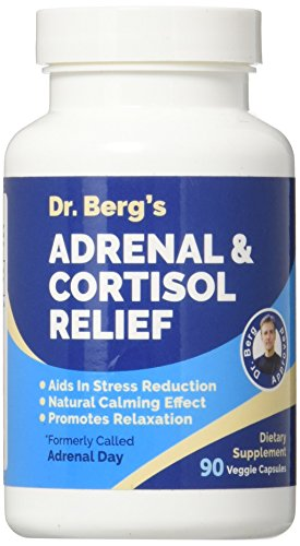 Dr. Berg's Adrenal & Cortisol Relief: Natural Stress & Anxiety Relief for a Better Mood, Focus and Relaxation; Turn Off Your Busy Mind, Vegetarian Ingredients : 90 Capsules (Adrenal Cortisol Relief)