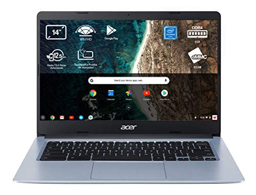 Acer Chromebook 314 – Portátil 14″ FullHD (Intel Celeron N4020, 4GB RAM, 64GB eMMc, Intel UHD Graphics, Chrome OS), Teclado QWERTY Español, Color Plata