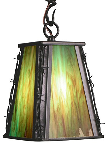 Meyda Tiffany Custom Lighting 19178 Barbed Wire 1-Light Mini-Pendant, Bronze Finish with Green and Amber Art Glass Shade (Barbed Wire Pendant)