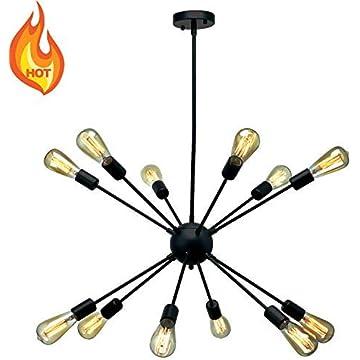 Black Sputnik Chandeliers 12 Lights Industrial Metal Modern Pendant Lighting Vintage Ceiling Light Fixture for Dining Room Bed Room Kitchen Island