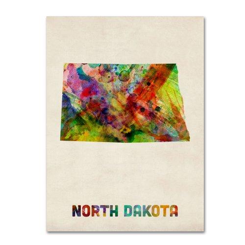 - North Dakota Map by Michael Tompsett, 35 by 47-Inch Canvas Wall Art