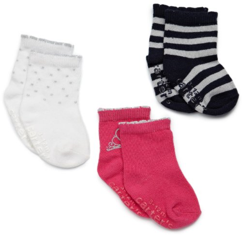 Carter's Hosiery Baby-girls Newborn 3 Pack Sparkle Princess Comp Socks