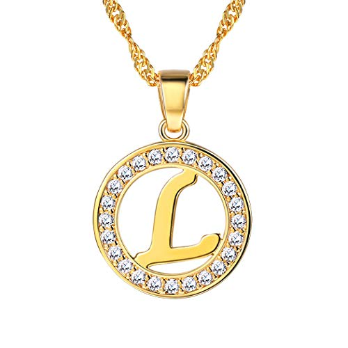 Suplight Initial Letter L Necklace Pendant 18K Gold Plated CZ Letter Charm for Women/Girls