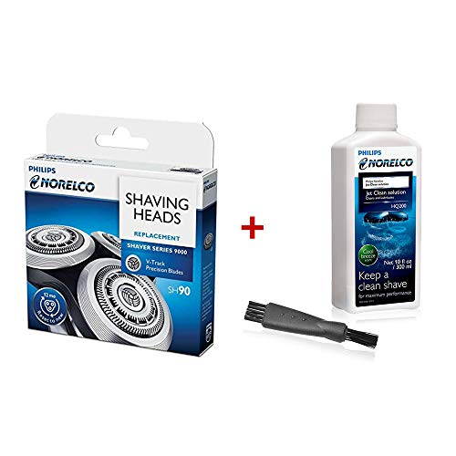 Philips Norelco SH90 Replacement Heads with Shaver Aid Brush & HQ200 Jet Clean Solution
