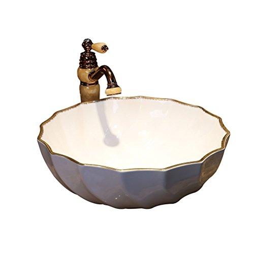 Teng Peng- Bathroom Sink White Art Above Counter Basin American Ceramic Washbasin Bathroom Wash Basin,46.5X16.5cm Modern wash Basin
