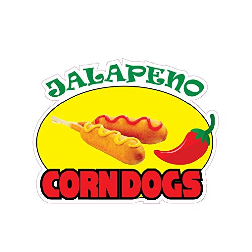 Jalapeno Corn Dogs Concession Restaurant Die-Cut Window Static Cling Inside Glass Vinyl Sticker 24 inches on Longest ()