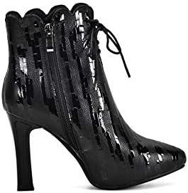 MSSugar Bottes pour Dames à Talons Hauts - Chaussures à Bout Pointu/Bottines Bottes à la Mode/Bottines Travail d\'automne Bureau,Black,43