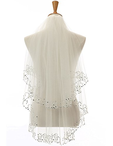 anmor Womens Tulle Bridal Veils Short Wedding Veil Accessories (White Ivory Red Black 4 colors 1T/2T/3T)