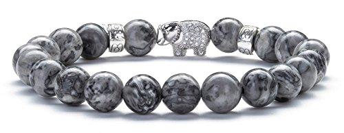 m Lava Rock Diffuser Bracelet Elastic Natural Stone Yoga Beads Bracelet Bangle,Elephant (Map Stone) ()