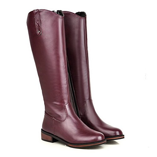 AgooLar Women's Mid Top Solid Pull On Round Closed Toe Low Heels Boots Claret M2qtsGCL