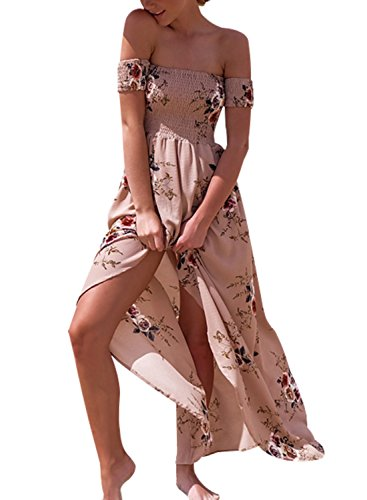 Sanifer Women Floral Print Off Shoulder Slit Summer Beach Maxi Dress (Maxi Silk Dress Chiffon)