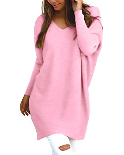 StyleDome Women's V Neck Long Sleeve Solid Pattern Casual Loose Baggy Blouse Pullover Sweater Pink L