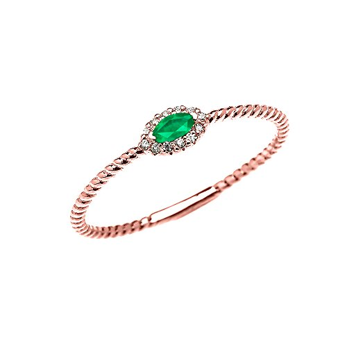 14k Rose Gold Dainty Solitaire Marquise Emerald and Halo Diamond Rope Design Promise/Stackable Ring