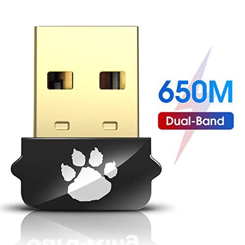 650Mbps Nano USB WiFi Adapter, 2.4 / 5GHz Wireless Network Adapter for Desktop PC Laptop MacBook, Mini WiFi Dongle Portable WiFi Stick, Compatible with Windows 10/7/8/8.1/XP/Vista Mac OS X 10.6-10.15