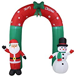 8 Foot Tall Lighted Christmas Inflatable Santa and Snowman...