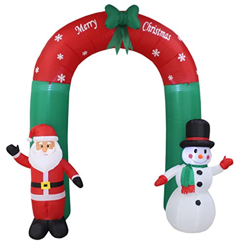 8 Foot Tall Lighted Christmas Inflatable Santa and Snowman Archway with Bow LED Yard Art Decoration by Blossom Inflatables