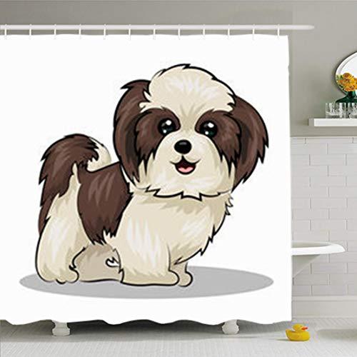tains 72 x 72 Inches Beige Shitzu Shih Tzu Dog Black Adorable Puppy Beautiful Bow Breed Decor Waterproof Bath for Bathroom Set with Hooks ()